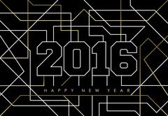 Happy new year abstract 2016 gold deco outline Stock Illustration