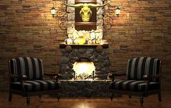 Stone fireplace and chairs Stock Illustration