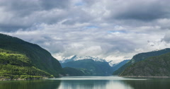 View On Mountain And Hardangerfjord,  Eidfjord In Hordaland county, Norway- Time - stock footage