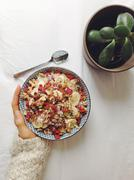 Oatmeal with superfood toppings - stock photo