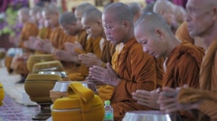 Thai monks meditating,Surin,Thailand Stock Footage