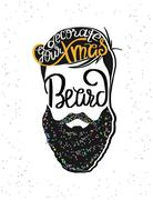 Stock Illustration of Decorate your xmas beard template design