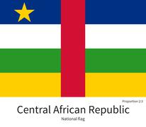 National flag of Central African Republic with correct proportions, element Stock Illustration