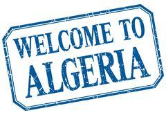 Algeria - welcome blue vintage isolated label - stock illustration