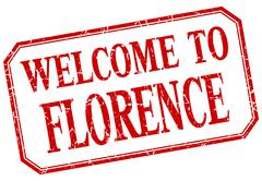 Florence - welcome red vintage isolated label Stock Illustration