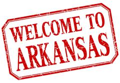 Arkansas - welcome red vintage isolated label - stock illustration