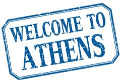 Athens - welcome blue vintage isolated label - stock illustration