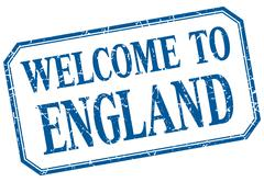 England - welcome blue vintage isolated label - stock illustration