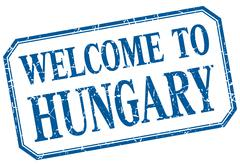 Hungary - welcome blue vintage isolated label Stock Illustration