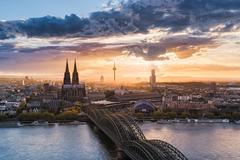 Cologne and Rhine river, Germany - stock photo