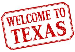 Texas - welcome red vintage isolated label Stock Illustration