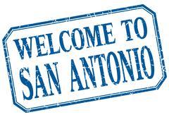San Antonio - welcome blue vintage isolated label - stock illustration