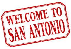 San Antonio - welcome red vintage isolated label - stock illustration