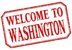 Washington - welcome red vintage isolated label - stock illustration