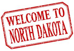 Stock Illustration of North Dakota - welcome red vintage isolated label