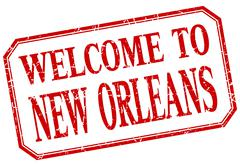 New Orleans - welcome red vintage isolated label Stock Illustration