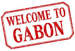 Gabon - welcome red vintage isolated label - stock illustration