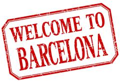Barcelona - welcome red vintage isolated label - stock illustration