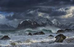 Stormy sea, Myrland, Lofoten Islands, Norway Kuvituskuvat