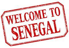 Senegal - welcome red vintage isolated label - stock illustration