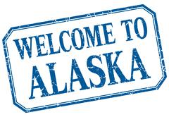 Stock Illustration of Alaska - welcome blue vintage isolated label