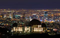 Griffith Observatory and downtown Los Angeles at night, California, USA - stock photo