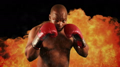 Tough boxer punching with red gloves Stock Footage