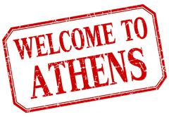 Stock Illustration of Athens - welcome red vintage isolated label