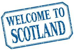 Scotland - welcome blue vintage isolated label - stock illustration