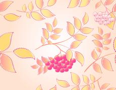 Stock Illustration of Seamless autumn background with leaves and rowan. EPS10 vector illustration