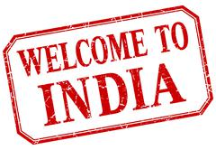 Stock Illustration of India - welcome red vintage isolated label