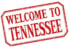 Tennessee - welcome red vintage isolated label - stock illustration