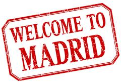 Madrid - welcome red vintage isolated label - stock illustration