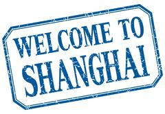 Shanghai - welcome blue vintage isolated label - stock illustration