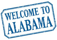 Alabama - welcome blue vintage isolated label - stock illustration