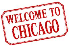 Chicago - welcome red vintage isolated label - stock illustration