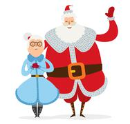 Santa and Missis Claus wife cartoot couple vector - stock illustration