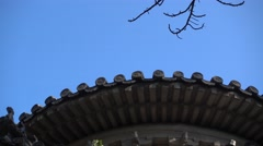 Blue sky and old temple stone roof in xiangshan mountain beijing Stock Footage