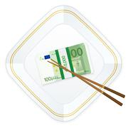 plate chopsticks and one hundred euro pack - stock illustration