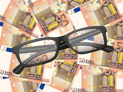 Reading glasses on fifty euro background Stock Illustration