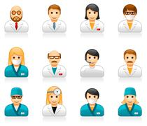 Medical staff avatars - user icons of doctors (physicians) and nurses Piirros