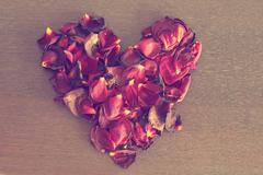 Elevated view of rose petals in the shape of a heart - stock photo