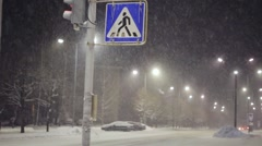 Pedestrian crossing sign during heavy snowstorm Stock Footage