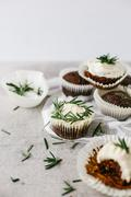 Chocolate muffins with rosemary buttercream - stock photo