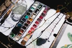 Watercolors in the sunlight Stock Photos