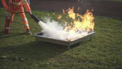 An employee performs a fire drill, slow motion. Stock Footage