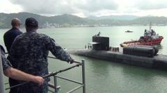 Malaysia Kota Kinabalu, November 2015, USS Ohio Guided Submarine Drive Harbour - stock footage