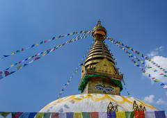 Bodnath Stupa decorated with flags, Kathmandu, Nepal Stock Photos