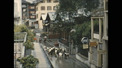 Vintage 16mm film, 1955, Switzerland, car free Zermatt goats Stock Footage