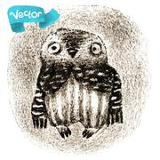 Vector Little Owl Sitting In a Hollow - stock illustration